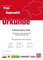 Urkunde Nominirung Regionalitätspreis 2017