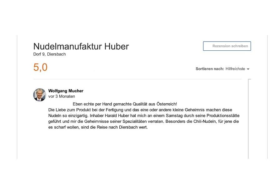 Nudelmanufaktur Huber Bewertung auf Google+ von Mucher Wolfgang