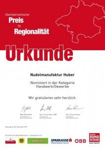 Urkunde Nominierung OÖ Regionalitätspreis 2017