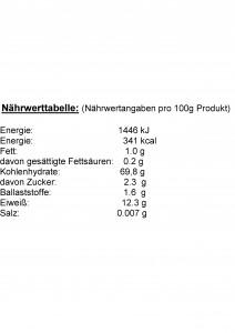 Nährwerttabelle Durum Hartweizengrieß, Angaben pro 100g